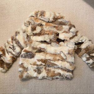 Vintage Jackets & Coats - Vintage Genuine Rabbit Fur Coat Brown White Jacket